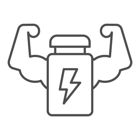 Muscle hands with bottle line and solid icon. Protein energy drink and arms symbol, outline style pictogram on white background. Sport or fitness sign for mobile concept, web design. Vector graphics. Ilustrace