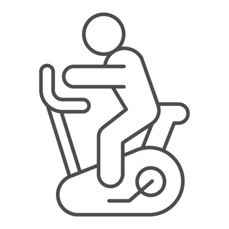 Exercise bike line and solid icon. Stationary fitness cycle with athlete symbol, outline style pictogram on white background. Healthy lifestyle sign for mobile concept and web design. Vector graphics.