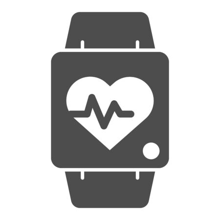 Smart watch line and solid icon. Fitness tracker with heart beat monitor symbol, outline style pictogram on white background. Healthy lifestyle sign for mobile concept and web design. Vector graphics.