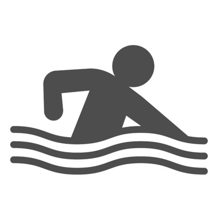 Swimming pool or sea line and solid icon. Sportsman swim in water with wave symbol, outline style pictogram on white background. Healthy lifestyle sign for mobile concept, web design. Vector graphics.