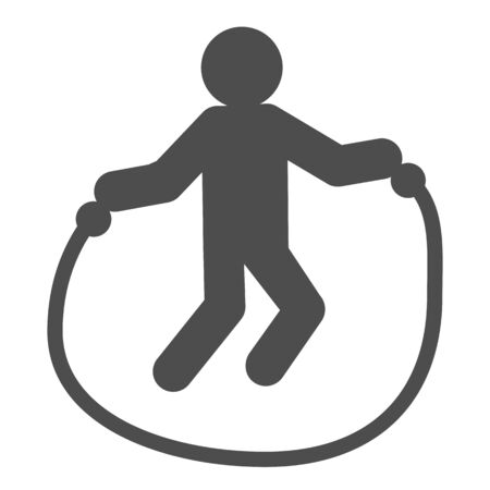 Jump rope exercise line and solid icon. Sportsman training, skipping-rope symbol, outline style pictogram on white background. Healthy lifestyle sign for mobile concept or web design. Vector graphics.