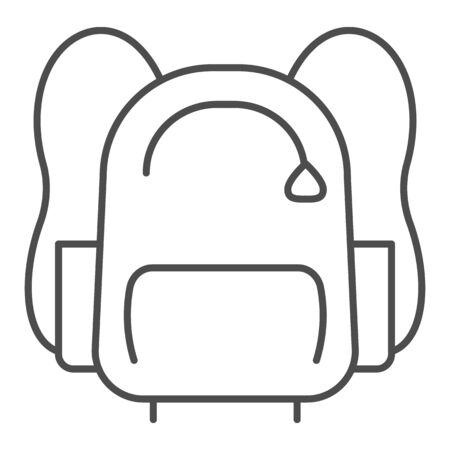 Sports backpack line and solid icon. Sportsman daypack bag with handles symbol, outline style pictogram on white background. Healthy lifestyle sign for mobile concept and web design. Vector graphics.