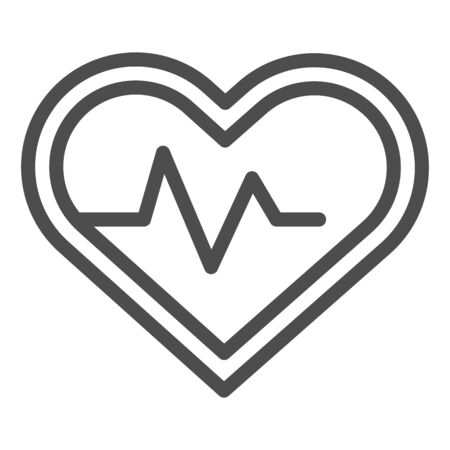 Heart pulse tracker line and solid icon. Sportsman heartbeat rate in love shape symbol, outline style pictogram on white background. Fitness sign for mobile concept and web design. Vector graphics. Ilustrace