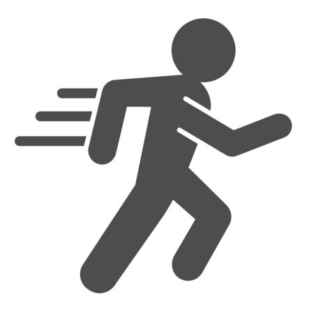 Runner line and solid icon. Sportsman running with speed motion symbol, outline style pictogram on white background. Healthy lifestyle or sport sign for mobile concept and web design. Vector graphics. Ilustrace