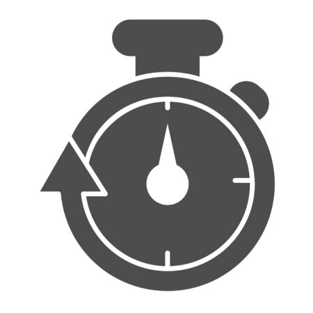Stopwatch line and solid icon. Speedometer with arrow around timer symbol, outline style pictogram on white background. Healthy lifestyle or sport sign for mobile concept, web design. Vector graphics. Ilustrace