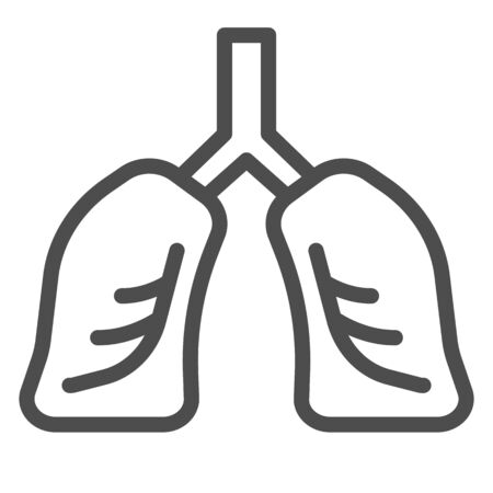 Lungs organ line and solid icon. Healthy human detailed anatomy of respiratory system symbol, outline style pictogram on white background. Fitness sign for mobile concept, web design. Vector graphics.