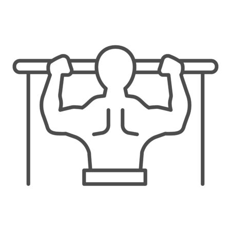 Horizontal bar and athlete line and solid icon. Sportsman doing pull-ups symbol, outline style pictogram on white background. Healthy lifestyle sign for mobile concept and web design. Vector graphics.