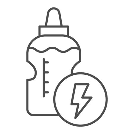 Energy drink bottle line and solid icon. Power liquid and lightening symbol, outline style pictogram on white background. Fitness or sport sign for mobile concept and web design. Vector graphics.