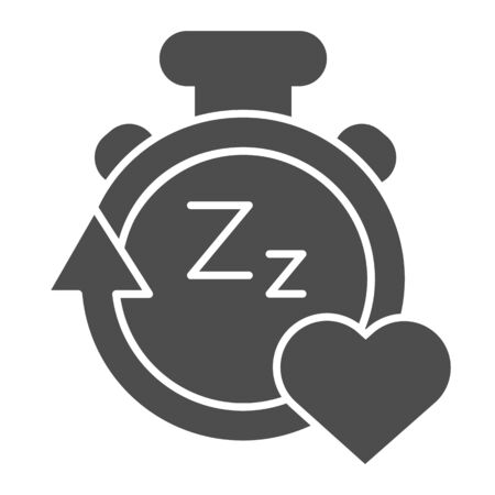Sleep duration tracker line and solid icon. Gadget with arrow and heart symbol, outline style pictogram on white background. Healthy lifestyle sign for mobile concept and web design. Vector graphics. 일러스트