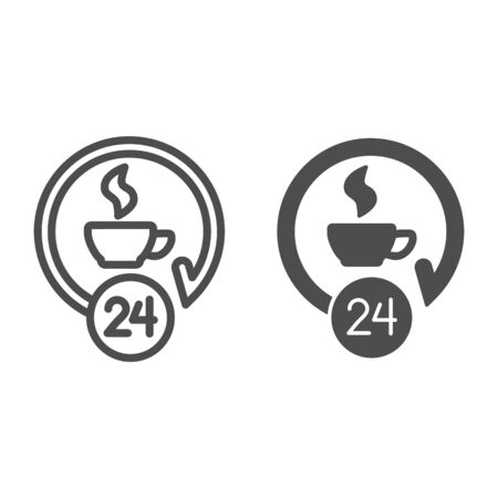 Coffee cup around the clock line and solid icon. Light hot drink and service symbol, outline style pictogram on white background. Caffeine or cafe sign for mobile concept, web design. Vector graphics.