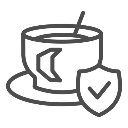 Cup of coffee on saucer and approved emblem line icon. Hot drink symbol, outline style pictogram on white background. Caffeine or cafe sign for mobile concept or web design. Vector graphics.