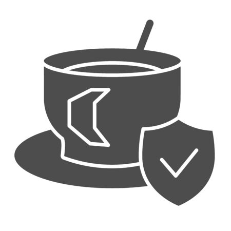 Cup of coffee on saucer and approved emblem solid icon. Hot drink symbol, glyph style pictogram on white background. Caffeine or cafe sign for mobile concept or web design. Vector graphics. 向量圖像