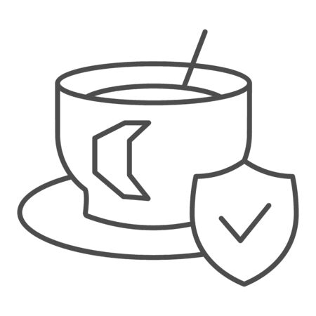 Cup of coffee on saucer and approved emblem thin line icon. Hot drink symbol, outline style pictogram on white background. Caffeine or cafe sign for mobile concept or web design. Vector graphics.