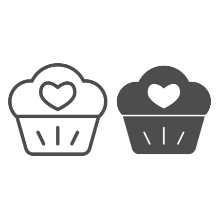 Love muffin line and solid icon. Sweet cupcake, dessert with cream and heart symbol, outline style pictogram on white background. Valentine day sign for mobile concept and web design. Vector graphics.