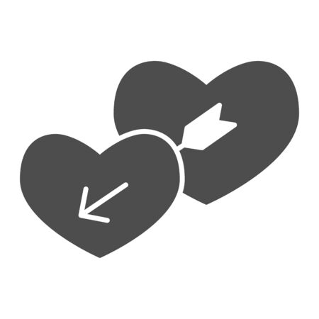 Lovers hearts solid icon. Amour shape of heart and cupids with arrow symbol, glyph style pictogram on white background. Valentines day sign for mobile concept, web design. Vector graphics.