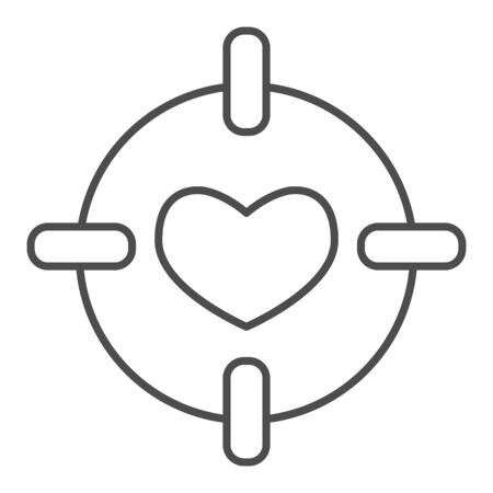 Heart in center of target thin line icon. Love darts, follover and aiming symbol, outline style pictogram on white background. Valentines day sign for mobile concept, web design. Vector graphics.