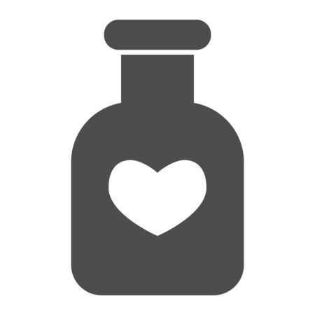 Potion flask solid icon. Bottle of love spell elixir and heart shape symbol, glyph style pictogram on white background. Valentine day sign for mobile concept, web design. Vector graphics.