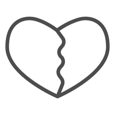 Cracked or broken heart line icon. Heartbreak, two part of love shape symbol, outline style pictogram on white background. Valentine day sign for mobile concept, web design. Vector graphics. Illustration