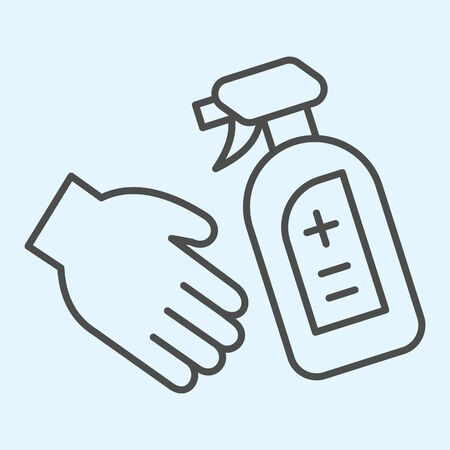 Antiseptic spray bottle for hands thin line icon. Disinfectant and hand outline style pictogram on white background. Corona virus prevention signs for mobile concept and web design. Vector graphics.