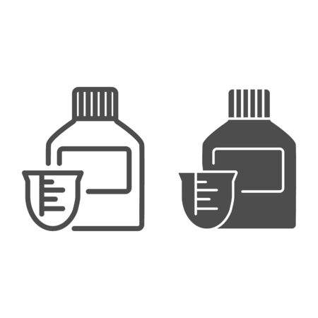 Medicine bottle and dose measuring cup line and glyph icon. Vitamin syrup symbol, outline style pictogram on white background. Medical or pharmacy sign for mobile concept, web design. Vector graphics