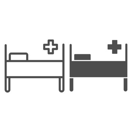 Hospital bed line and glyph icon. Medical care shape and city clinic kip with pillow symbol, outline style pictogram on white background. Medicine sign for mobile concept, web design. Vector graphics