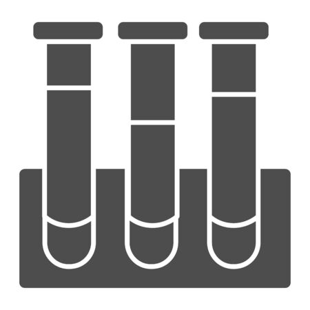 Ampules or chemical flasks solid icon. Glass tubes symbol, glyph style pictogram on white background. Medicine and chemistry sign for mobile concept and web design. Vector graphics Ilustrace