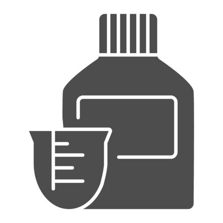 Medicine bottle and dose measuring cup solid icon. Vitamin syrup symbol, glyph style pictogram on white background. Medical or pharmacy sign for mobile concept, web design. Vector graphics.