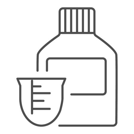 Medicine bottle and dose measuring cup thin line icon. Vitamin syrup symbol, outline style pictogram on white background. Medical or pharmacy sign for mobile concept, web design. Vector graphics.