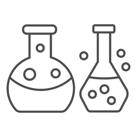 Glass tubes for test thin line icon. Laboratory glassware, chemical flasks symbol, outline style pictogram on white background. Chemistry sign for mobile concept and web design. Vector graphics. Vetores