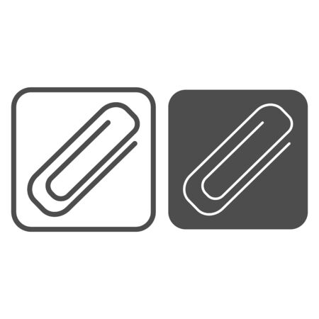 Clip line and glyph icon. Paperclip in frame, clinch for binding documents symbol, outline style pictogram on white background. Stationery sign for mobile concept and web design. Vector graphics.