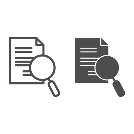 Lens and paper list line and glyph icon. Search, magnifying on document symbol, outline style pictogram on white background. Business and research sign for mobile concept, web design. Vector graphics.
