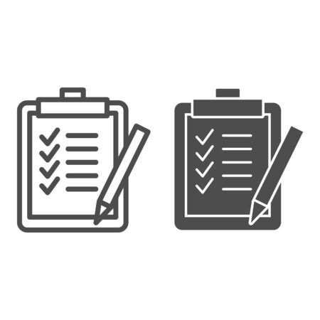 Task list line and glyph icon. Clipboard with checklist paper and pen symbol, outline style pictogram on white background. Business sign for mobile concept and web design. Vector graphics. Ilustração