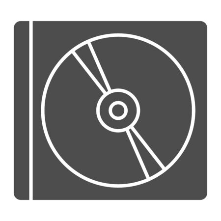Compact disk box solid icon. Data storage for software or movie and music symbol, glyph style pictogram on white background. Technology sign for mobile concept, web design. Vector graphics. Illustration