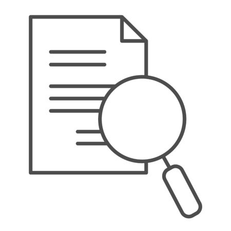 Lens and paper list thin line icon. Search, magnifying on document symbol, outline style pictogram on white background. Business and research sign for mobile concept, web design. Vector graphics.