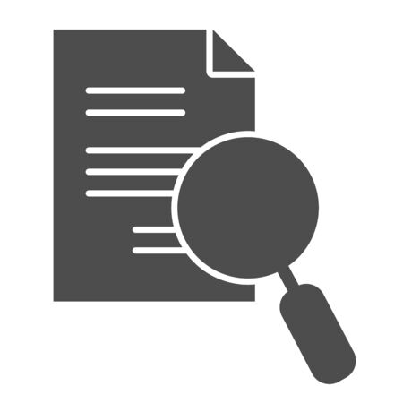 Lens and paper list solid icon. Search, magnifying on document symbol, glyph style pictogram on white background. Business and research sign for mobile concept, web design. Vector graphics.