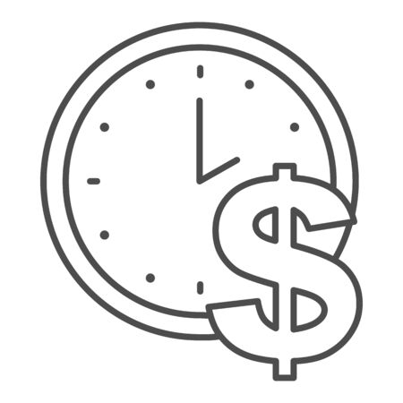 Time is money thin line icon. Watch, clock and dollar symbol, outline style pictogram on white background. Business or finance sign for mobile concept and web design. Vector graphics.