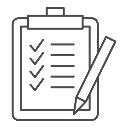Task list thin line icon. Clipboard with checklist paper and pen symbol, outline style pictogram on white background. Business sign for mobile concept and web design. Vector graphics. Ilustração