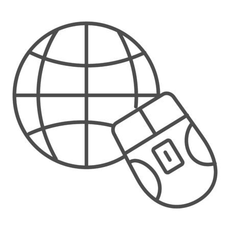 Mouse and Earth globe thin line icon. Work from home in internet network symbol, outline style pictogram on white background. Technology sign for mobile concept and web design. Vector graphics.