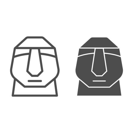 Easter island stone moai line and solid icon. Easter Island tiki head statue outline style pictogram on white background. Chile polynesian sculpture for mobile concept and web design. Vector graphics.