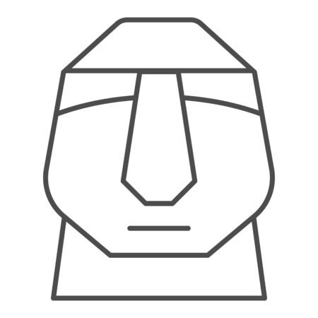 Easter island stone moais thin line icon. Easter Island tiki head statue outline style pictogram on white background. Chile polynesian sculpture for mobile concept and web design. Vector graphics.
