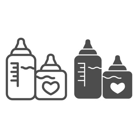 Bottles with nipples line and solid icon. Two plastic feeding bottle for newborn with milk outline style pictogram on white background. Maternity for mobile concept and web design. Vector graphics.