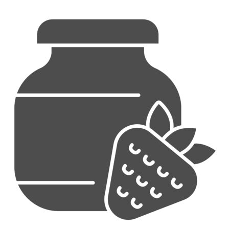 Strawberry jam solid icon. Glass can jar and strawberries glyph style pictogram on white background. Children homemade dessert in a bank for mobile concept and web design. Vector graphics.