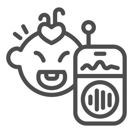 Nanny radio and a baby line icon. Baby-radio and crying kid outline style pictogram on white background. Maternity devices signs for mobile concept and web design. Vector graphics. 일러스트