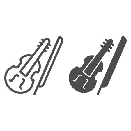 Violin and bow line and solid icon. Fiddle with Fiddle-bow outline style pictogram on white background. Musical instrument symbol for mobile concept and web design. Vector graphics.