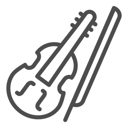 Violin and bow line icon. Fiddle with Fiddle-bow outline style pictogram on white background. Musical instrument symbol for mobile concept and web design. Vector graphics.