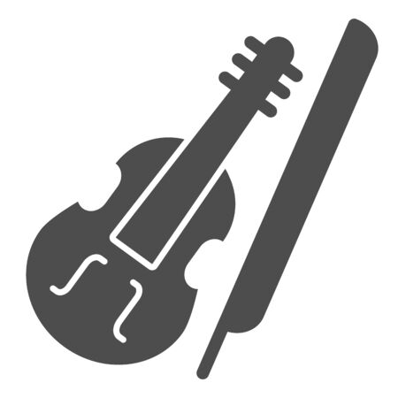 Violin and bow solid icon. Fiddle with Fiddle-bow glyph style pictogram on white background. Musical instrument symbol for mobile concept and web design. Vector graphics.