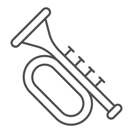 Trumpet thin line icon. Brass musical instrument with flared bell outline style pictogram on white background. Patrick day and music sign for mobile concept and web design. Vector graphics. Vettoriali
