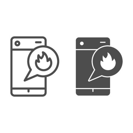 Call for help line and solid icon. Emergency calling through cellphone outline style pictogram on white background. Smartphone Ignition for mobile concept and web design. Vector graphics.