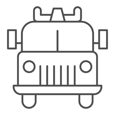 Firefighting vehicle thin line icon. Emergency service fire truck outline style pictogram on white background. Fire engine or firetruck for mobile concept and web design. Vector graphics. Illustration