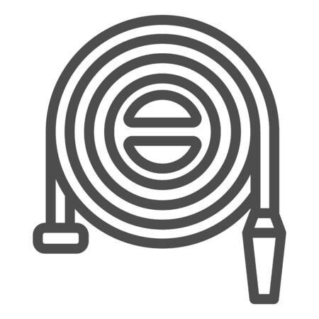 Fire hose reel line icon. Fire Station Sleeve outline style pictogram on white background. Firefighter signs for mobile concept and web design. Vector graphics. Stock Illustratie